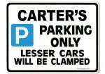 CARTER'S Personalised Gift |Unique Present for Him | Parking Sign - Size Large - Metal faced
